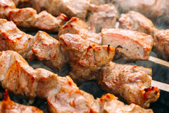 Grilled Barbecue Meat Shashlik Shish Kebab Pork Meat Grilling On Metal Skewer. Stock Images