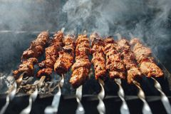 Grilled barbecue meat on skewers with smoke. Closeup view Royalty Free Stock Images
