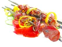 Grilled barbecue meat with vegetables Royalty Free Stock Images