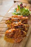 Satay Skewer. Grilled BBQ Chicken satay skewer sticks royalty free stock images