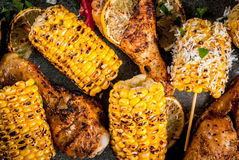 Grilled bbq corn and chiken royalty free stock photography