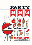 Grilled bbq party icon style Stock Photos