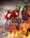 Grilled bbq steaks Stock Photos