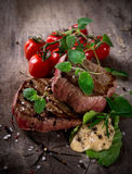 Grilled bbq steaks Stock Images