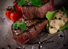 Grilled bbq steaks Royalty Free Stock Images