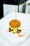 Grilled Beef Burger with Cheese Royalty Free Stock Photos