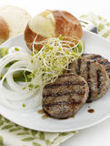 Grilled Beef Burgers Stock Images