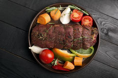 Grilled beef on a cutting board royalty free stock photography