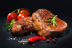 Grilled beef fillet steaks with spices Stock Images