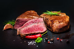 Grilled beef fillet steaks with spices Royalty Free Stock Photography