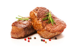 Grilled beef fillet steaks with spices royalty free stock photo