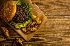 Grilled beef hamburger Stock Image