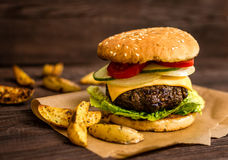 Grilled beef hamburger Royalty Free Stock Photography