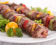 Grilled beef kebab Stock Photos