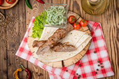 Grilled beef  meat kebabs Royalty Free Stock Photo