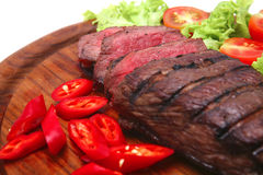 Grilled beef meat steak and vegetables Royalty Free Stock Photos