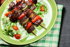 Grilled beef meat and vegetable kebabs Royalty Free Stock Images