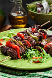 Grilled beef meat and vegetable kebabs Royalty Free Stock Photos