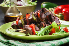 Grilled beef meat and vegetable kebabs Royalty Free Stock Photo