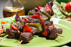 Grilled beef meat and vegetable kebabs Stock Photography