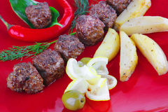 Grilled beef meatballs Royalty Free Stock Image