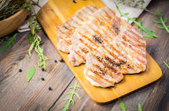 Grilled beef, pork steak with herbs and spices Stock Photo