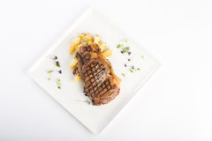 Grilled beef. With potatoes and garden cress Stock Image