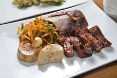 Grilled beef ribs. Marinated with soy sauce stock images