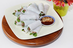 Grilled Beef Rice Crepe Rolls Royalty Free Stock Photo