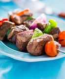 Grilled beef shishkabobs Royalty Free Stock Images