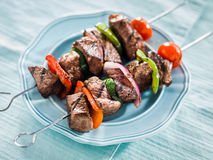 Grilled beef shishkabobs Royalty Free Stock Photos