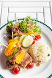 Grilled beef skewer with rice Stock Photography