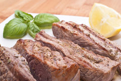 Grilled beef sliced Stock Photos