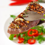 Grilled beef steak. Stock Photos