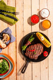 Grilled beef steak, asparagus and corn Stock Image