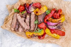 Grilled Beef Steak Fajitas with colorful bell peppers Royalty Free Stock Photography