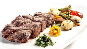 Grilled beef steak with french fries. royalty free stock image
