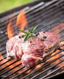 Grilled beef steak on the grill Royalty Free Stock Images