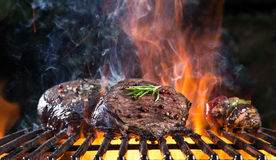 Grilled beef steak on the grill. Royalty Free Stock Photo
