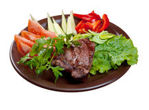 Grilled beef  - steak isolated Royalty Free Stock Photography