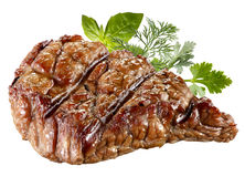 Grilled Beef Steak Isolated. Clipping path Royalty Free Stock Image