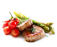 Grilled Beef Steak. Meat over White Royalty Free Stock Images