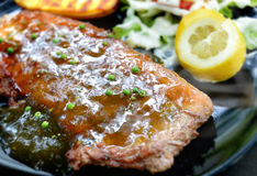 Grilled beef steak with pepper sauce Royalty Free Stock Photography