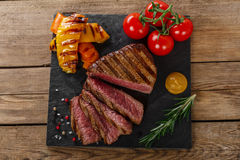 Grilled beef steak rare Royalty Free Stock Photos