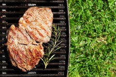 Grilled beef steak with rosemary Stock Image