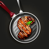 Grilled beef steak. S-shape grilled beef steak with herb spices on grill pan with fork on black background. Vector illustration Stock Photos