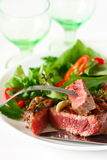 Grilled beef steak and salad. Stock Image