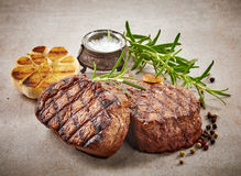 Grilled beef steak. With spices Royalty Free Stock Image