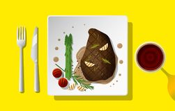 Grilled beef steak and spices served on plate with red wine stock illustration