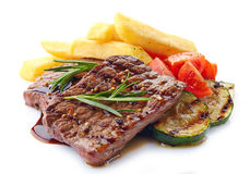 Grilled beef steak. On a white background Stock Images